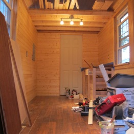Every week it looks less like a box full of lumber and tools and more like a (tiny) house