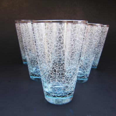 Blue printed-on crackle glasses