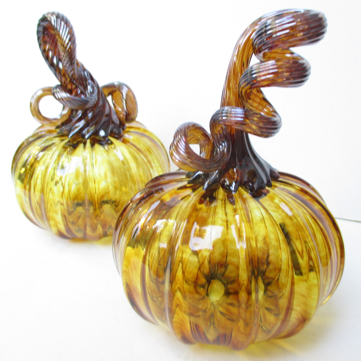 blown glass pumpkins amber pair two curly stems brown glass