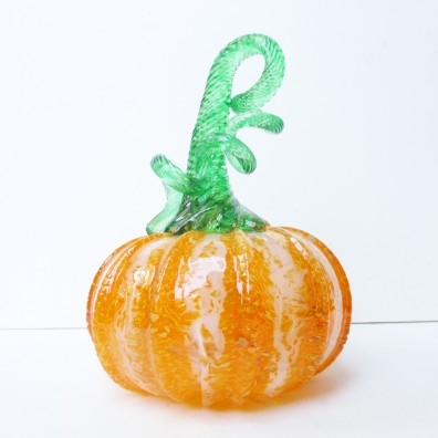 blown glass pumpkin orange green crackle glass