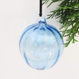 blown glass ornament blue with ridges Christmas holiday