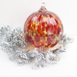 blown glass ornament gold red spots ridges christmas