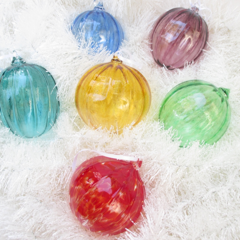 colorful hand blown glass christmas ornaments