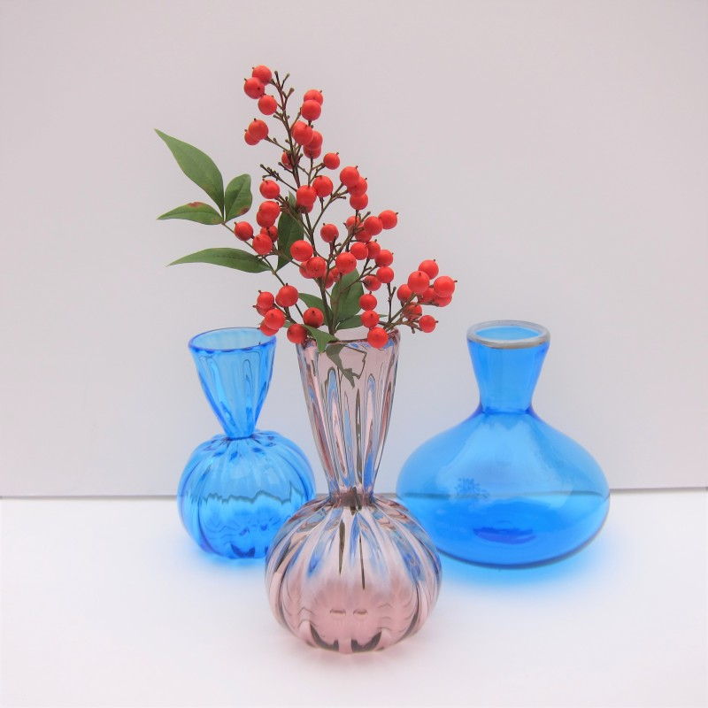 hand blown glass vases purple blue ridges bud vase